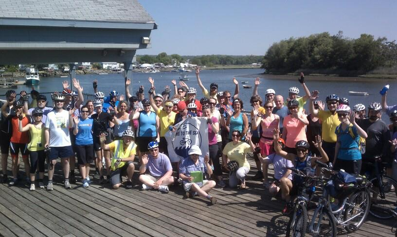 Bike riders pose for the camera during last year's Bike to the Sea Day Ride.