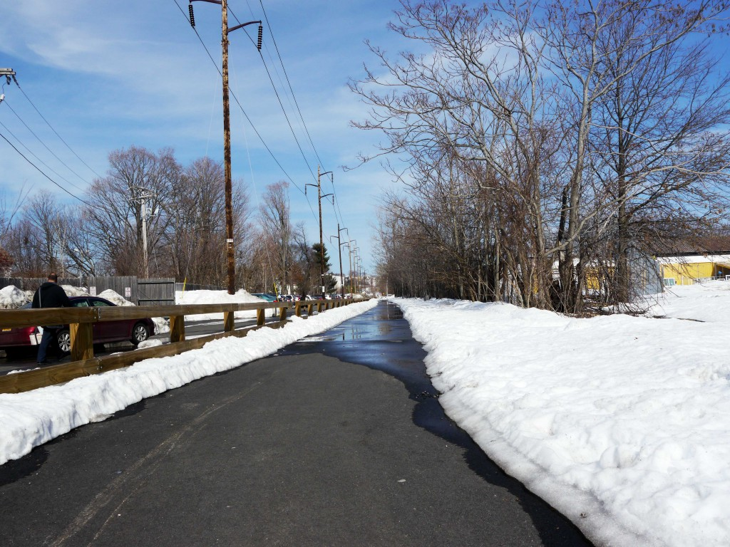 A bike path cleared of snow.