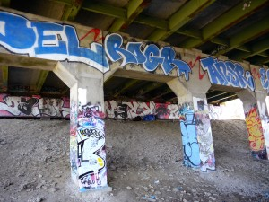 Graffiti under the Route 1 bridge.