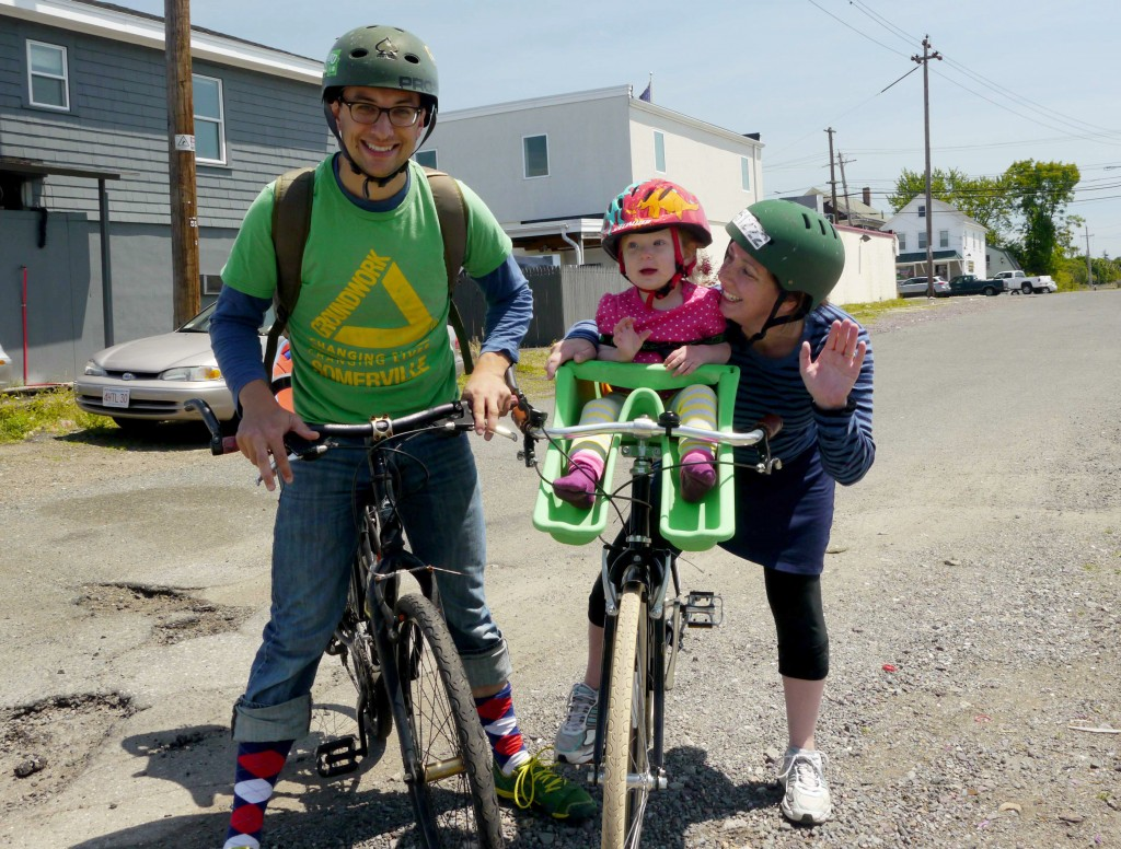 A family riding in last year's Bike to the Sea Day ride.