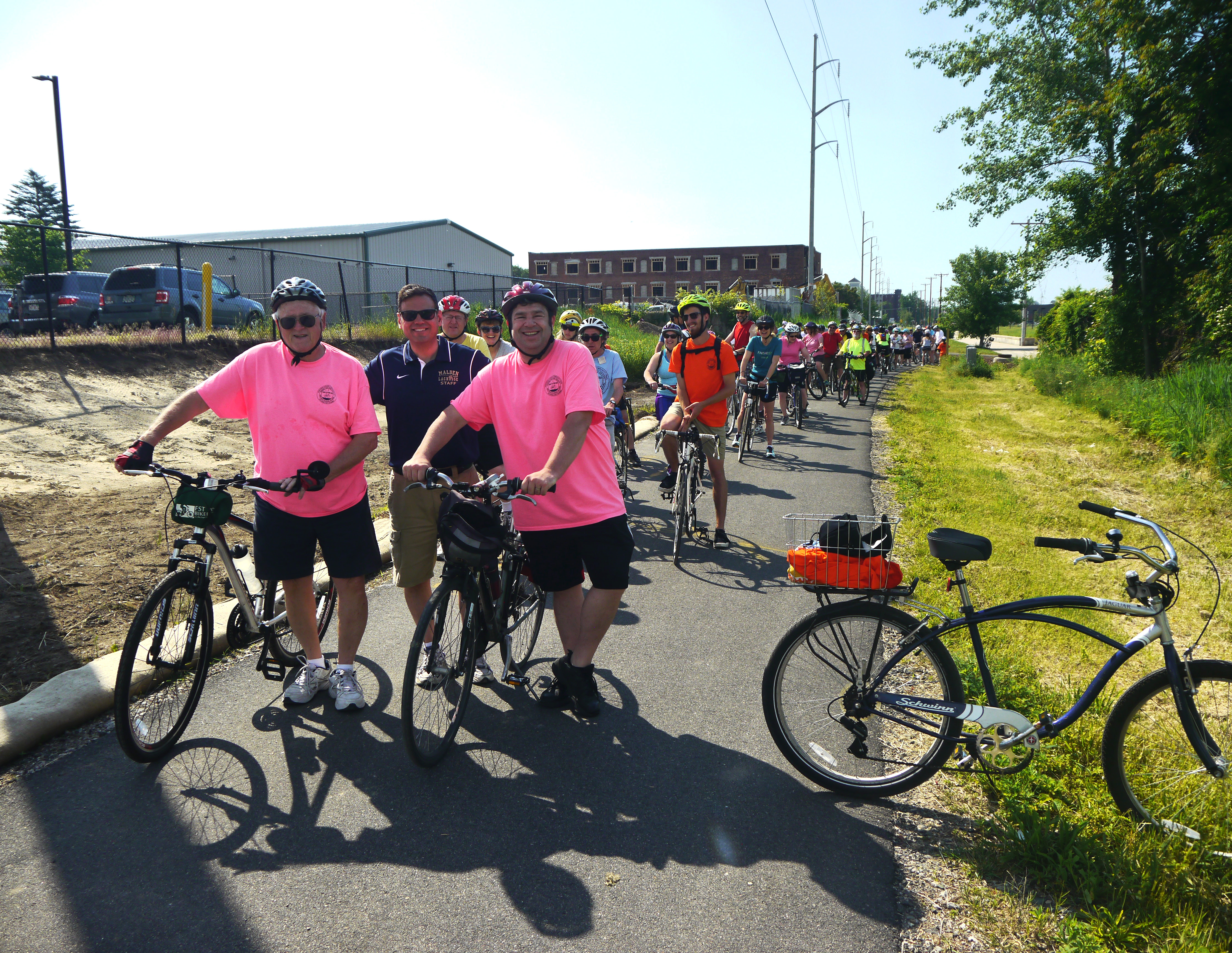 Bicyclists line up along the trail in Everett at the beginning of the Bike to the Sea Day Ride.