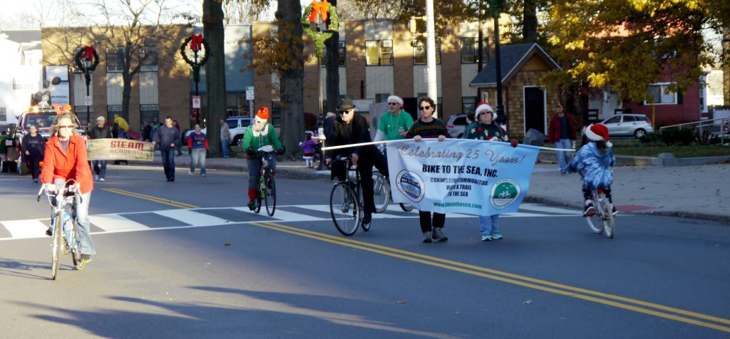 Bike to the Sea members march in the Malden holiday parade.
